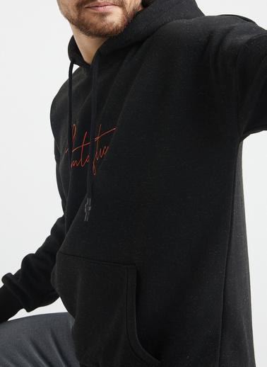 XHAN Pudra Baskılı Sweatshirt 1Kxe8-44367-50 Siyah